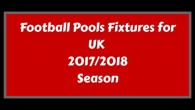 pools fixtures for 2017 - 2018 season