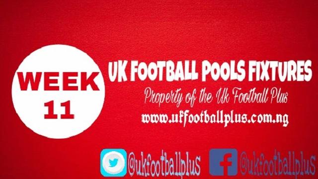 Wk11 football pools fixtures
