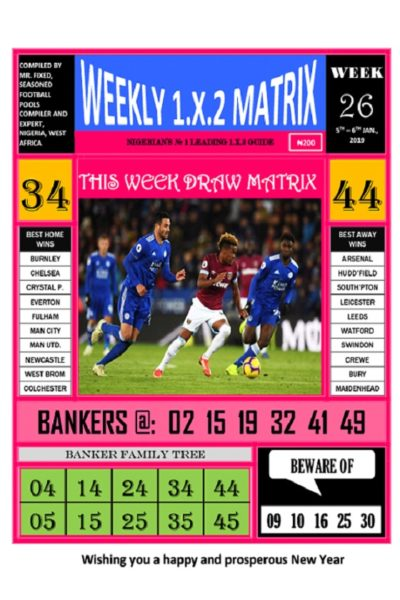 Week 26 - Weekly 1.X.2 Matrix - Page 1