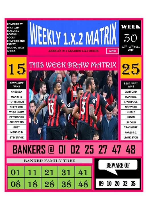 Week 30 weekly 1x2 matrix