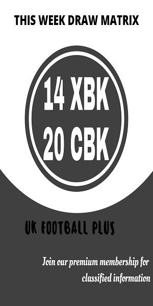 Week 34 football pools draw matrix (UK Football Plus)