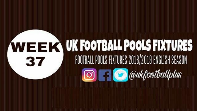 Week 37 classified football pools fixtures