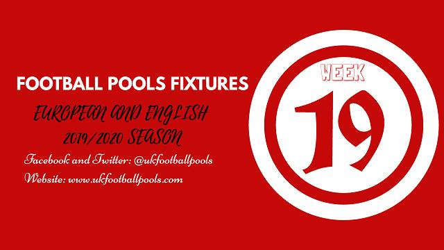 Week 19 Pools Fixtures – 2019/2020 Season