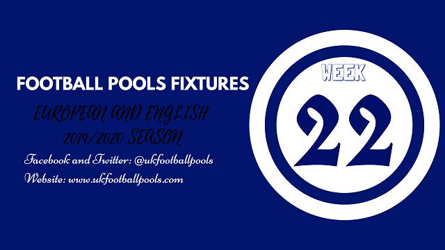 Week 22 pools fixtures
