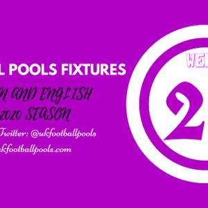Week 24 Pools Fixtures – UK 2019/2020 Season