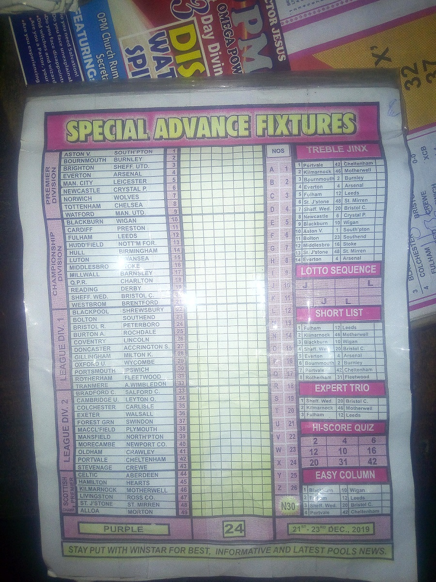 Week 24 special advance fixtures