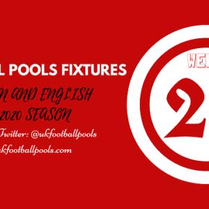 Week 27 Pools Fixtures – UK 2019/2020 Season