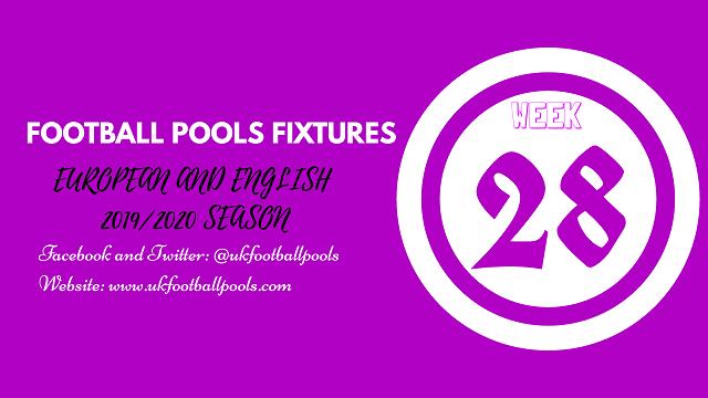 week 28 pool fixtures