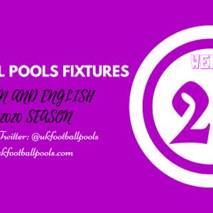 Week 28 Pools Fixtures – UK 2019/2020 Season