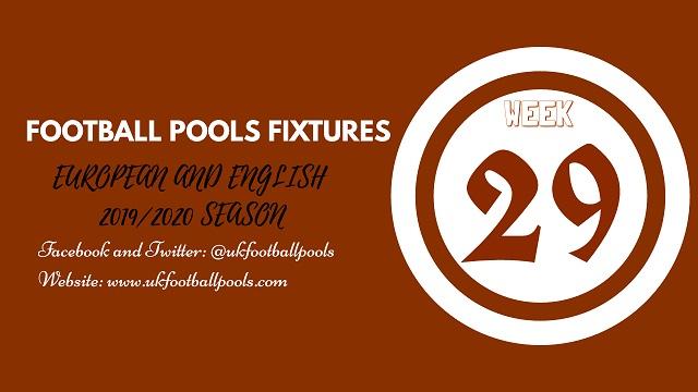 Week 29 pools fixtures
