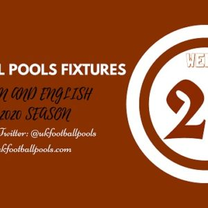Week 29 Pools Fixtures – UK 2019/2020 Season