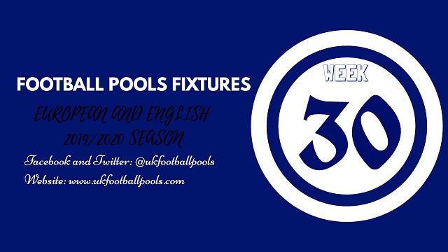 Week 30 pools fixtures 2020