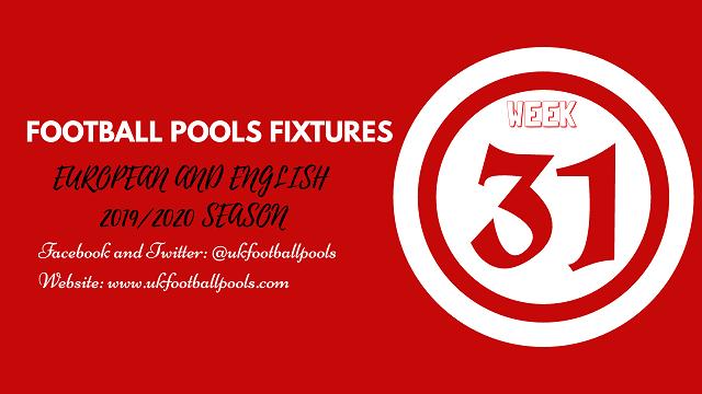 Week 31 Pool Fixtures