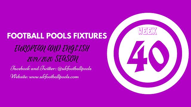 Week 40 pool fixtures