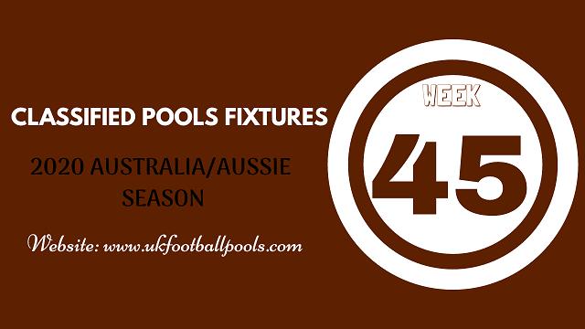 week 45 aussie pool fixtures 2020