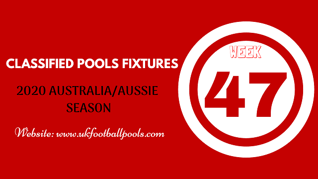 week 47 aussie pool fixtures 2020