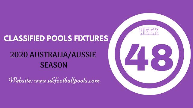 week 48 aussie pool fixtures 2020