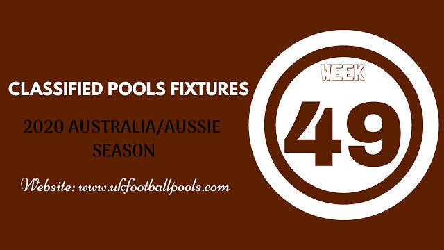 week 49 aussie pool fixtures 2020