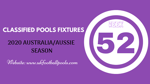 week 52 aussie pool fixtures 2020