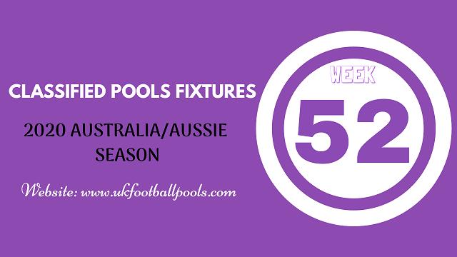 week 52 aussie pool fixtures 2020