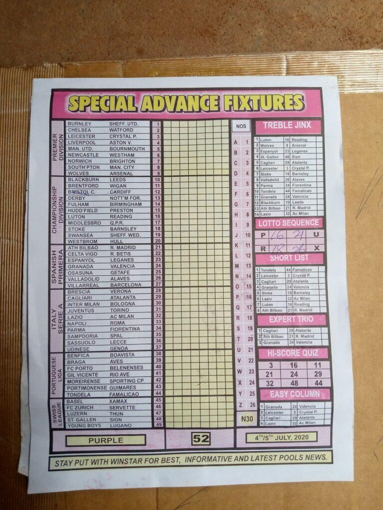 Week 52 Special Advance Fixtures 2020