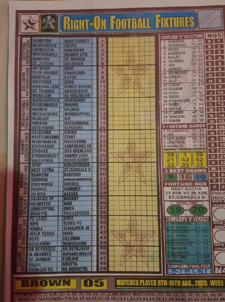 Week 5 Right On Fixtures Page 1 2020