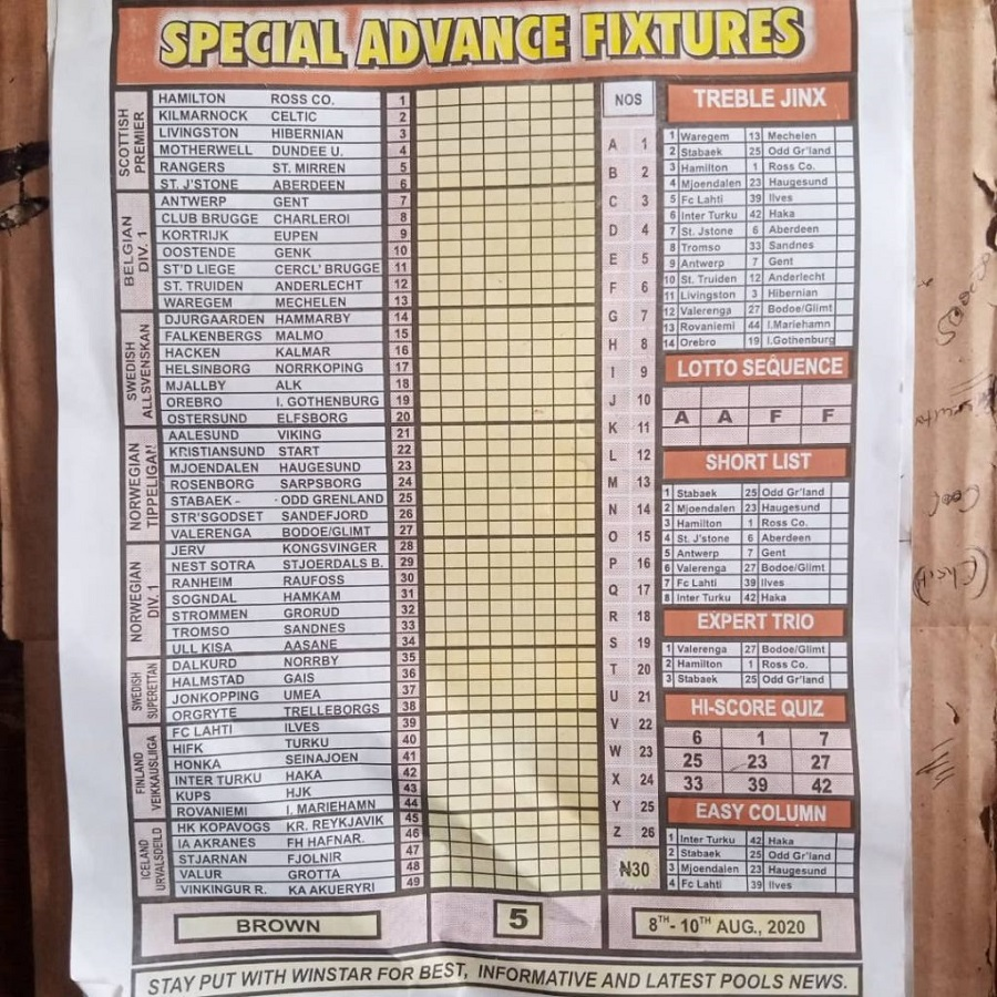 Week 5 Special Advance Fixtures 2020