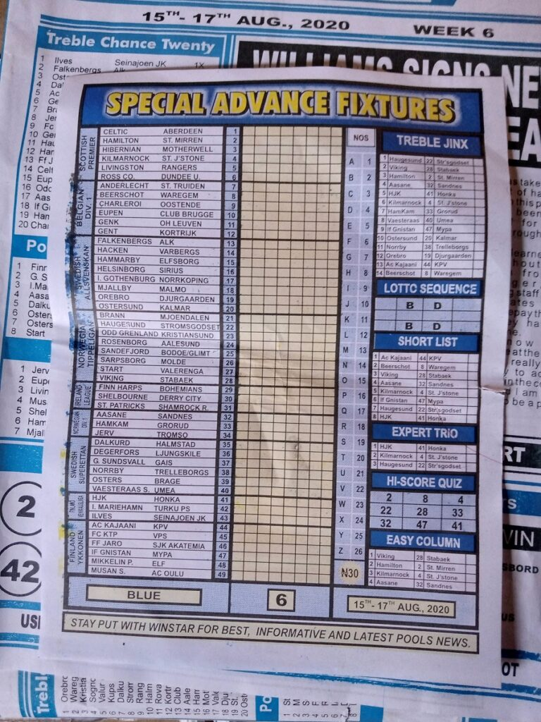 Week 6 Special Advance Fixtures 2020