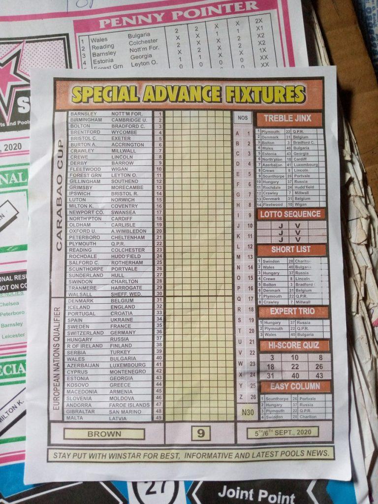 Week 9 Special Advance Fixtures 2020