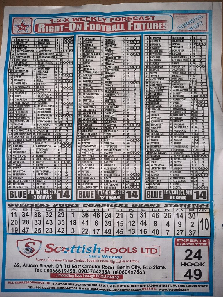 Week 14 Right On Fixtures 2020 Back Page