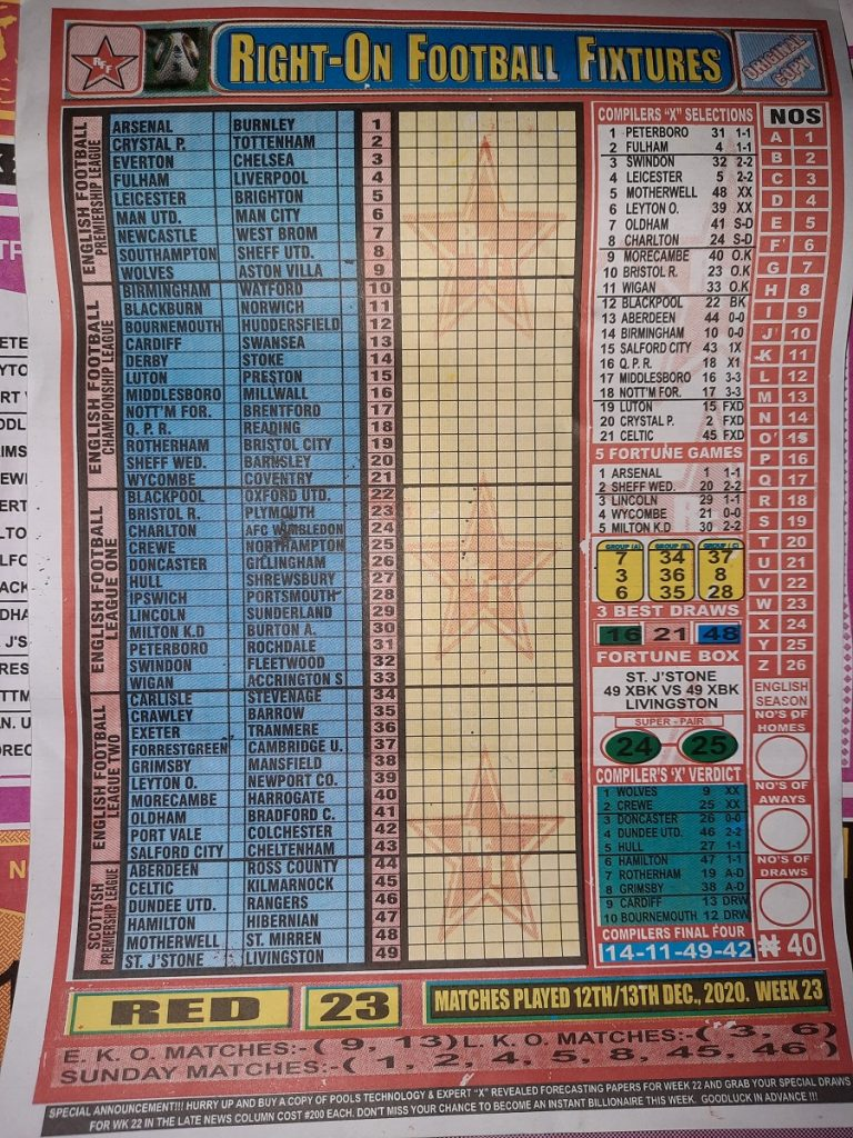 Week 23 Right On Fixtures 2020 Front Page